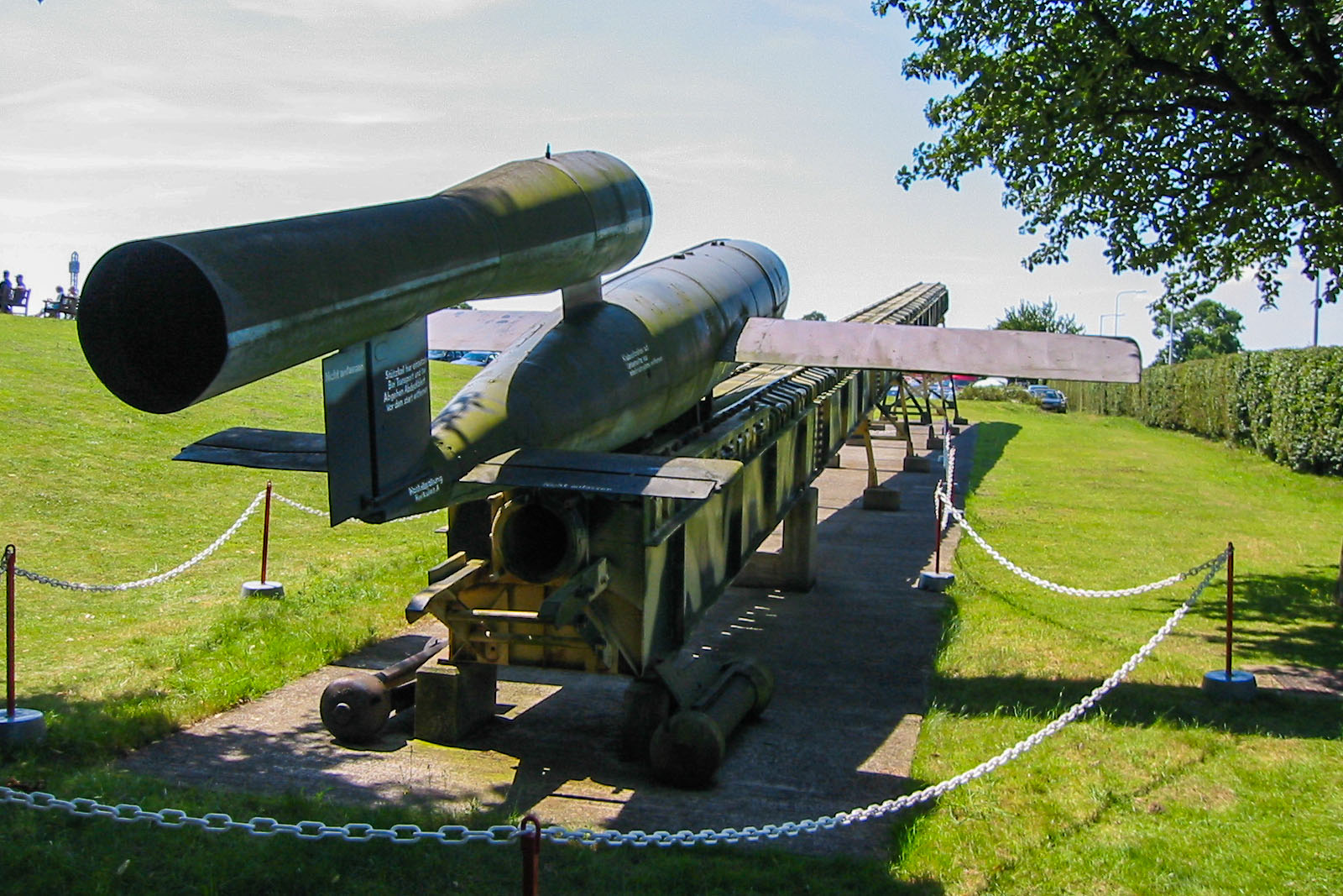 German V1 flying bomb on outdoor launch track, Duxford, 2002.  Click for next photo.