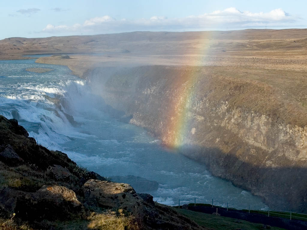 Rainbow over Gullfoss.  Click for next photo.