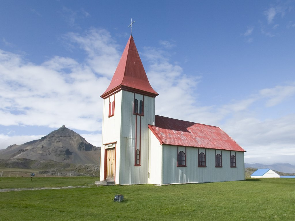 A typical Icelandic church.  Click for next photo.