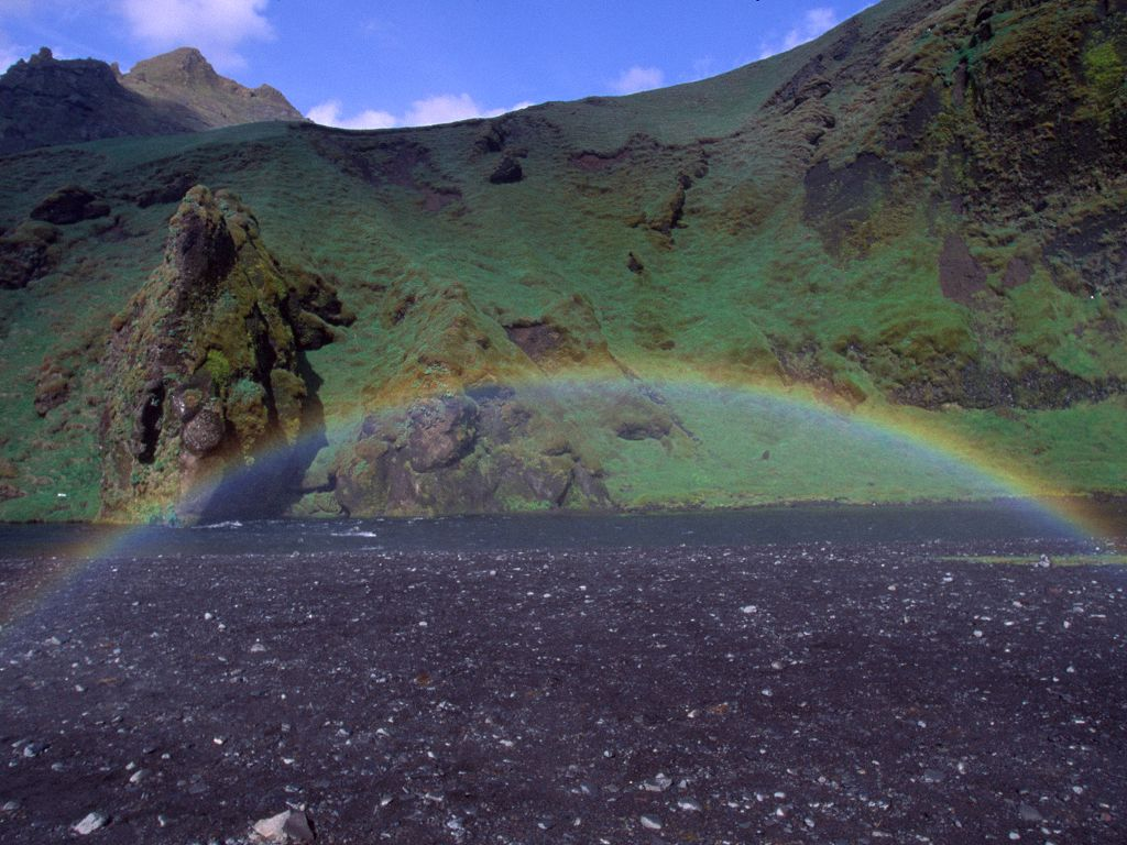 Standing in a rainbow next to Skógafoss.  Click for next photo.