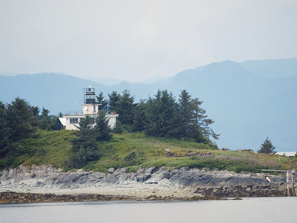 Lighthouse on an island on the approach to Ketchikan, Alaska.  Click for next photo.