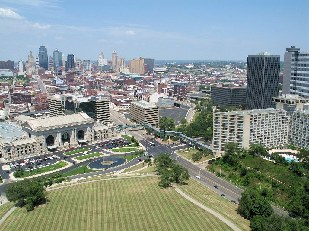 From the top of the Liberty Memorial in Kansas City, 2005.  To the left is Union Station, in the background is downtown, and to the right is part of Crown Center.  Click for next photo.