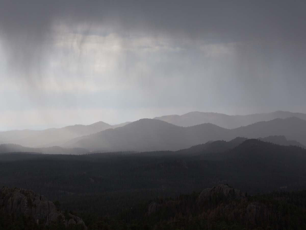 Rain over the Black Hills, October.  Click for next photo.